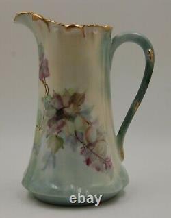 Vase Antique De Pichet Tankard Peint À La Main De Limoges