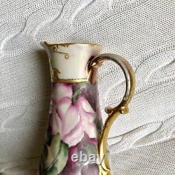 Vase Antique En Porcelaine Festonné Peint À La Main Non Marqué Peut-être Limoges