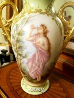 Vase De Portrait De Scènes Peintes À La Main De Limoges