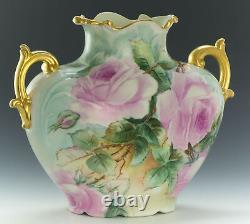 Vase De Roses Peintes À La Main De Limoges France