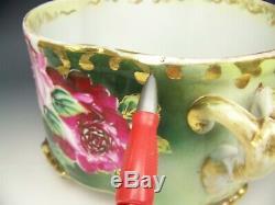 Vase En Forme De Fougère Antique À 10,5 Pieds Avec Roses Peintes À La Main