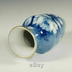 Vase En Porcelaine De Limoges Français Pallas Roses Peint À La Main Bleu Signée Jan