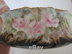 Vase Ferner Antique T & V Limoges Peint A La Main, Roses, Or