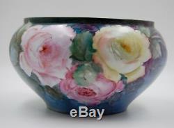 Vase Jardiniere Roses En Porcelaine Peinte A La Main Antique De Limoges