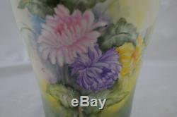 Vase Monumental T & V Limoges Peint À La Main Signature Dur Pour Lire Violet