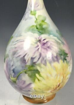 Vase Peint À La Main Chrysanthèmes