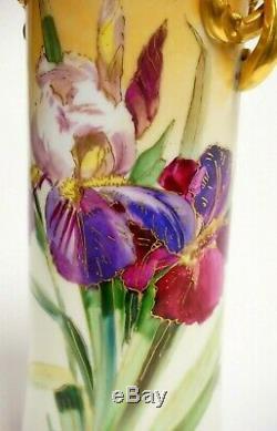 Vase Peint À La Main De Limoges, Artiste De Chicago Signé
