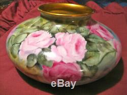 Vase Roses Peint De La Main
