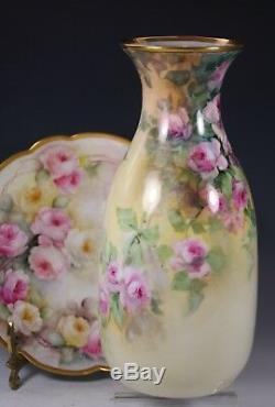 Vase Roses Peintes À La Main