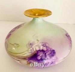 Vase Squat Antique Peint A La Main Par Jean Pouyat Limoges (jpl) France