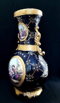 Véritable Vintage Limoges France Grande Porcelaine Peinte À La Main Antique Vase Rare