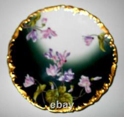 Vers 1892-1907 Antique T&v, Limoges France, Plaque Florale Peinte À La Main. Menthe
