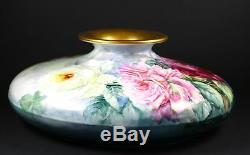 Vienne Autriche P H Leonard Porcelaine Squat Vase Floral Peints À La Main 13 Roses