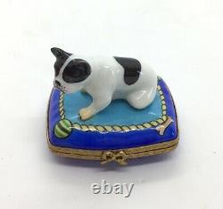 Vintag Limoges Peint Main Principale Peinte Français Bulldog Boston Terrier Trinket Box