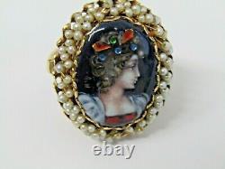 Vintage 14k Anneau Limoges Peint À La Main Portrait Et Perles Taille 6.75