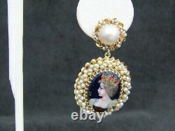 Vintage 14k Limoges En Or Peint À La Main Portrait Et Perles Boucles D'oreilles
