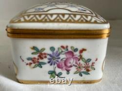 Vintage Antique Retraité Grande Porcelaine Peinte À La Main De Paris Boîte Àrinket France
