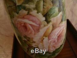 Vintage Bavière Allemagne Peint À La Main Vase, Roses Roses, Très Grand 17