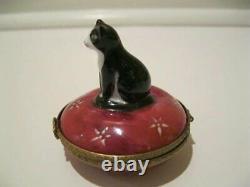 Vintage Dubarry Limoges Noir Et Blanc Cat Boîte Peinte À La Main
