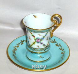 Vintage E. G. Limoges Demitasse Tea Or Chocolate Cup / Saucer Peint À La Main