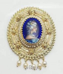 Vintage Français Peint À La Main Pendentif Camée Limoges / Broche Succession 14k Gold