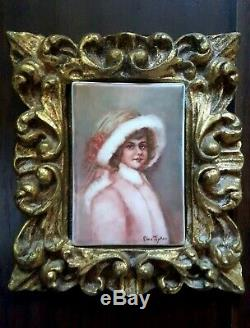 Vintage Française Limoges Peinte À La Main Portrait Miniature Sur Porcelaine Cadre Ormolu