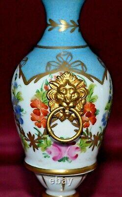 Vintage Giraud Limoges Handpainted Porcelaine Gilt Ormolu Pedestal Urn Vases Paire