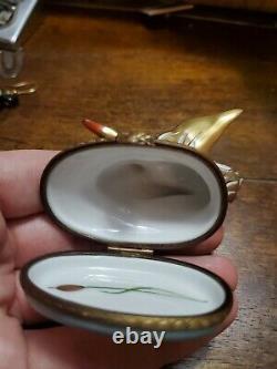 Vintage Gold Gilt Cygne Peint À La Main Limoges Trinket Box Edition Limitée 10/500