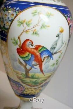 Vintage Grande Paire D'urnes Le Tallec En Porcelaine Peinte À La Main Limoges Princess Astrid