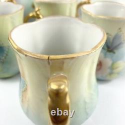 Vintage Hand Painted Chocolate Coffee Pot Set Roses And Butterflies Gold Signé