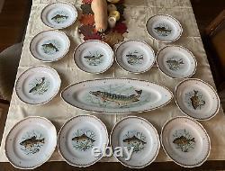 Vintage Hand Painted France Fish Designs Set 12 Assiettes À Dîner & 24 Long Platter