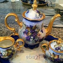 Vintage Hutschenreuther Peint À La Main Blueberry Tea Café Pot De Chocolat