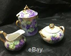 Vintage J. P. L. Limoges Peinte À La Main 4 Tasses De Café Espresso Sucre Creamer Set