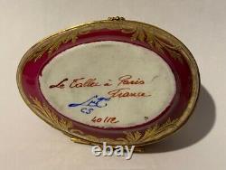Vintage Le Tallec Limoges Peint À La Main En Or Boîte À Oeufs Articulés En Relief