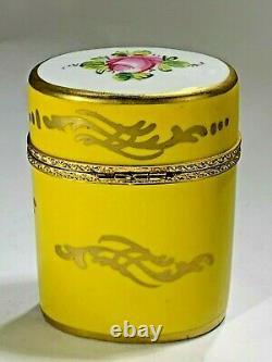 Vintage Limoge France Peint À La Main Grande Ovale Florale Et Jaune Couleur Coffret Cadeau