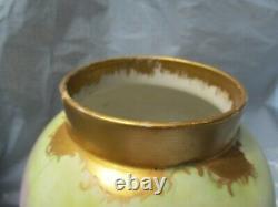 Vintage Limoge Hand Ptd. Vase En Porcelaine Violets Violets Et Or 9-1/2 X 6 Pre Own