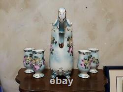 Vintage Limoges Chine Pitcher Peint À La Main, Ewer Lemonade Set Avec 4 Verres
