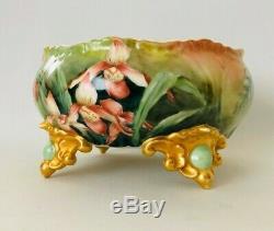 Vintage Limoges France Decores Lilies Grand Footed Bowl Centerpiece
