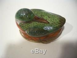 Vintage Limoges France Peint À La Main Pour Tiffany & Co Canard En Porcelaine Boîte Babiole