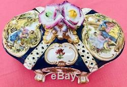 Vintage Limoges Lidded Box Ou À La Main Vaisselle Couple Victorienne Peinte Belle! Menthe