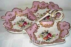 Vintage Limoges Peint À La Main Porcelaine Tripartite Bonbon Plat (france)