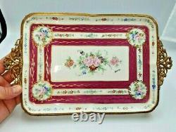 Vintage Limoges Peint À La Main & Signé, Gilded & Mounted Tray-décor Main Paris