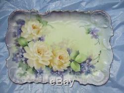 Vintage Limoges Porcelaine Peinte À La Main Violettes & Roses Vanity Plateau Occaion