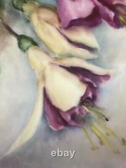 Vintage Limoges Style Peint À La Main Fuchsias Floral Platter/charger Artiste Signé