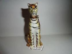 Vintage Limoges Tigre Tabby Peint À La Main Boîte Babiole