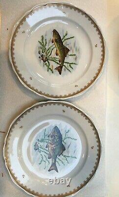 Vintage Peint À La Main France Designs De Poisson Set 12 Assiettes Et 24 Plateau Long