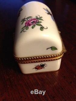 Vintage Porcelaine De Limoges Barrel Top Box Trinket Peint À La Main Pour Tiffany & Co