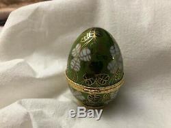 Vintage Porcelaine De Limoges Fabergé Imperial Egg 3 Grand / Peint À La Main