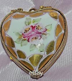 Vintage Rochard Limoges France Boîte Coeur Médaillon Pendentif Peintes À La Main Floral