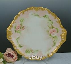 Vintage T & V & Tressemann France Main Plaque Vogt Chargeur Peint Roses 14-3 / 8